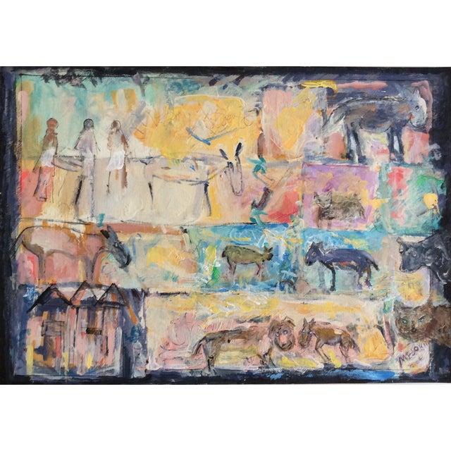 "Rosalyn Mesquita ""Animals"" Mixed Media Painting - Image 1 of 2"