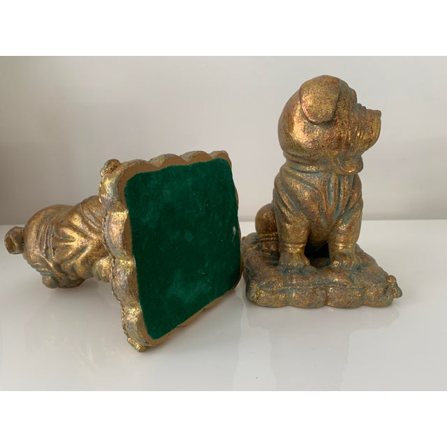 """Gold """"Borghese"""" Gilt Pug Bookends - a Pair For Sale - Image 8 of 9"""