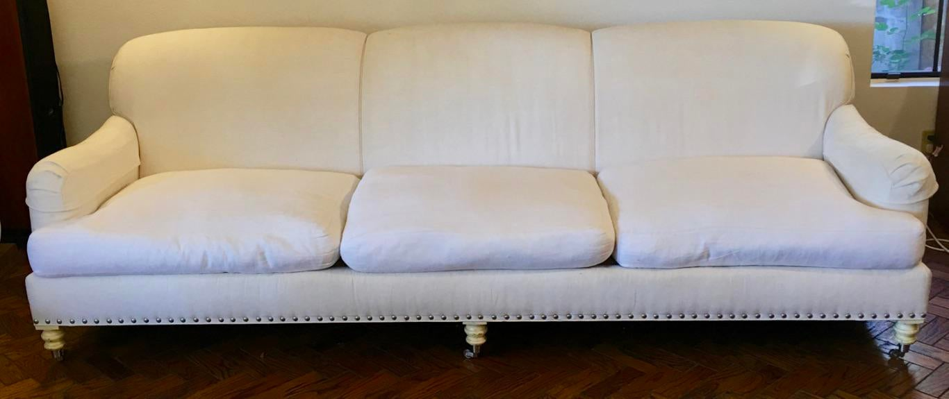 Lillian August White Linen Sofa   Image 2 Of 6