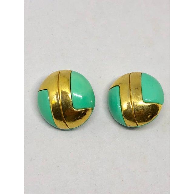 Modern Lanvin Aqua Lucite Modernist Clip on Earrings For Sale - Image 3 of 3