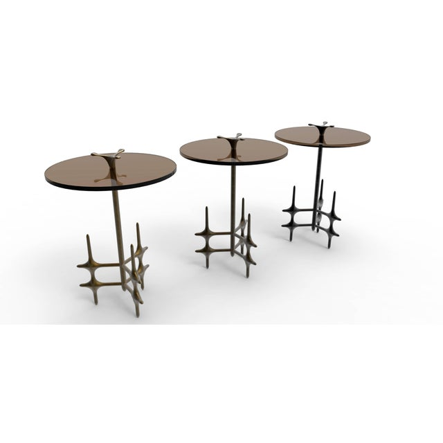 2010s William Collins Collection Bronze and Glass Ico Drinks Table For Sale - Image 5 of 10