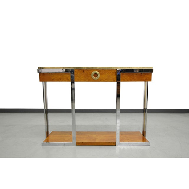 Willy Rizzo Mid-Century Italian Burl Wood Console - Image 3 of 8