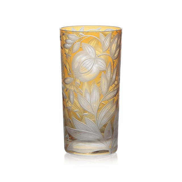 Traditional Verdure Highball Glasses, Set of 6, Amber For Sale - Image 3 of 4