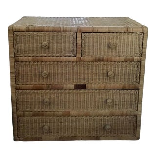Boho Chic Tall Natural Wicker Dresser For Sale