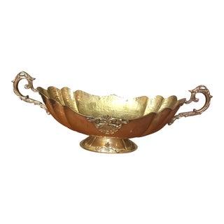 Indian Hammered Brass Decorative Pedestal Centerpiece Bowl For Sale