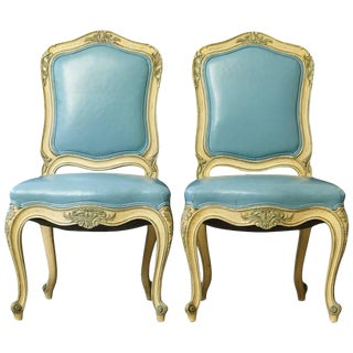 Pair of French Louis XV Style Side Chairs Upholstered in Powder Blue Leather For Sale