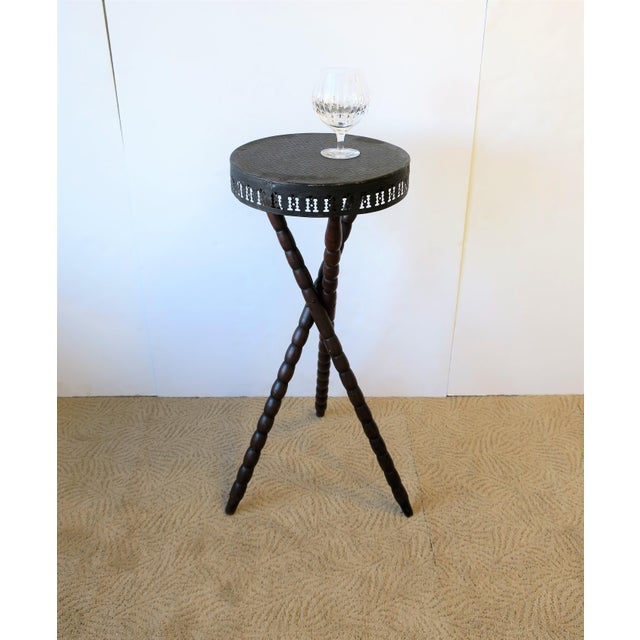 20th Century Rustic Black and Brown Tripod Side Table For Sale - Image 4 of 13
