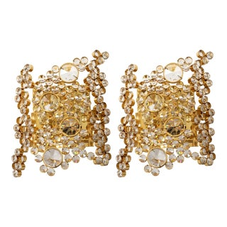 Palwa 22K Gilt Brass and Crystal Sconces - a Pair For Sale