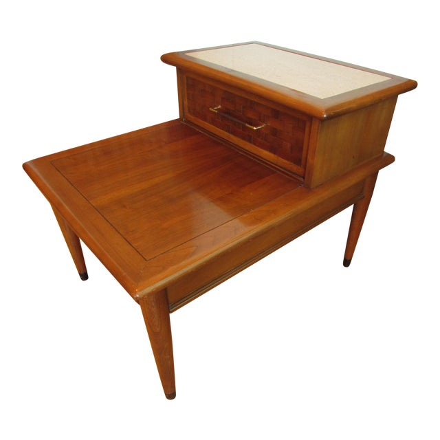 Mid-Century Walnut Two-Tiered End Table - Image 1 of 8