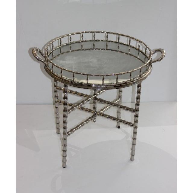 Maison Baguès Faux Bamboo 1960s Nickel Plated Folding Tray Table in Style of Maison Baguès For Sale - Image 4 of 11