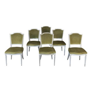Set of 6 Antique French Louis XVI Painted Dining Chairs For Sale