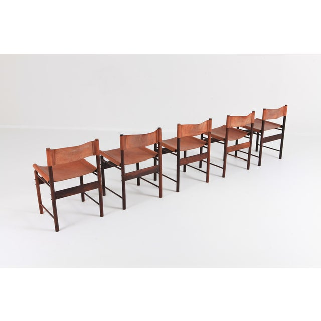 Jorge Zalszupin Zalszupin Jacaranda Dining Chairs With Cognac Saddle Leather Seating For Sale - Image 4 of 12