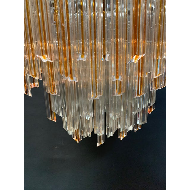Modern Vintage 1970s Venini Murano Glass Chandelier For Sale - Image 3 of 12