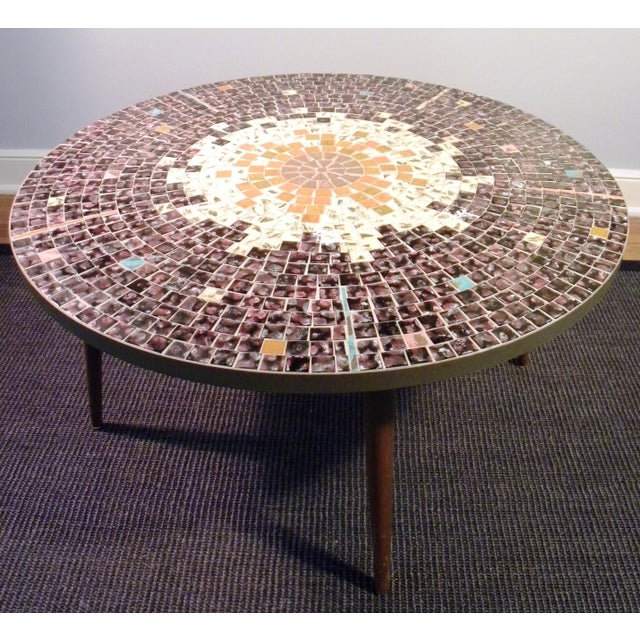 Vintage Mid Century Mosaic Coffee Cocktail Accent Table - Image 3 of 7