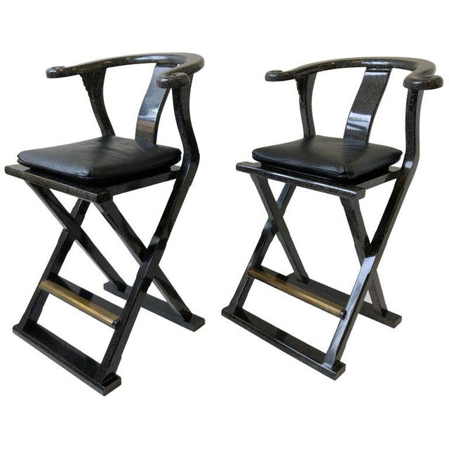 Asian Style Lacquered and Leather Barstools by Marge Carson - a Pair For Sale - Image 11 of 11