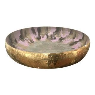 Modern Large Lavender and Sage Enameled Soft Brass Finished Hammered Metal Decorative Bowl For Sale