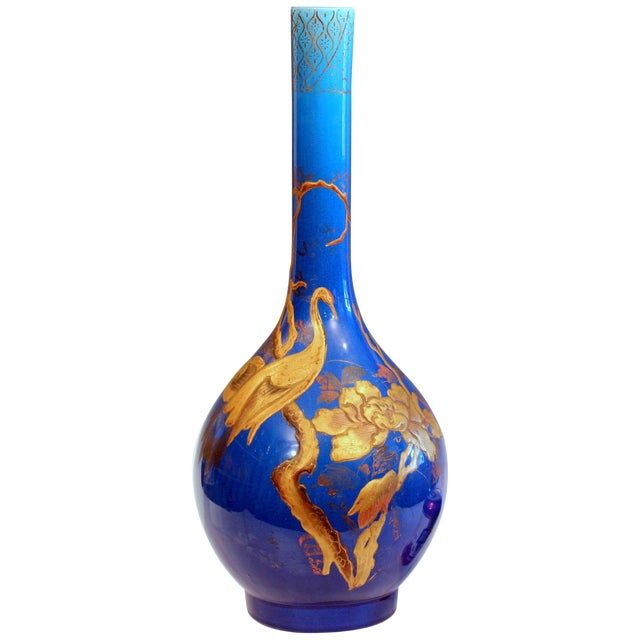 Antique Kyoto-Awaji Japanese Pottery Bottle Vase With Lacquer Decoration For Sale