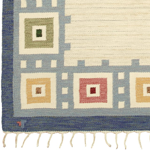 Handwoven Beige field with blue border and polychrome squares FJ Hakimian Reference #22053