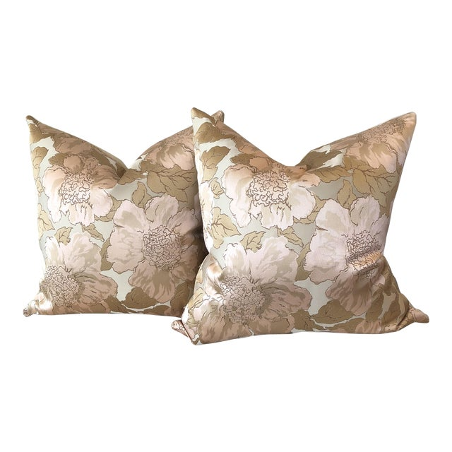 Custom Silk Floral Pillows - A Pair - Image 1 of 5