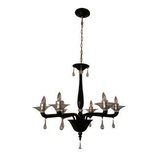 Mid-Century Modern Venini Black Glass Chandelier