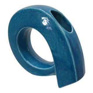 1980s Ceramic Vase in Brilliant Blue For Sale