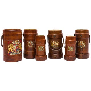 Collection of 19th Century English Leather Fire Buckets For Sale