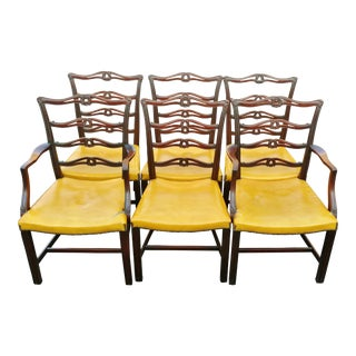 19th C. Antique English Carved Mahogany Chippendale Dining Chairs- Set of 6 For Sale