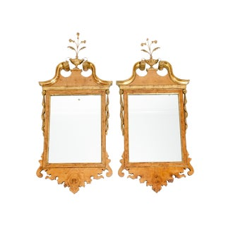 Burlwood / Gilt Gold Frame Beveled Hanging Wall Mirrors - a Pair For Sale