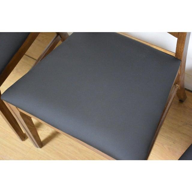 Keller Furniture Keller Black Vinyl Dining Chairs - Set of 4 For Sale - Image 4 of 11