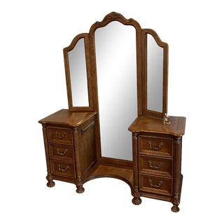 Antique Vanity Dresser With Full Floor Length Trifold Triptych Mirror For Sale