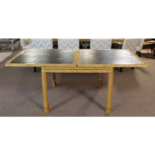 Mid-Century Modern Enrique Garcel Lacquer Leather Expandable Dinette Game Table For Sale In Detroit - Image 6 of 12