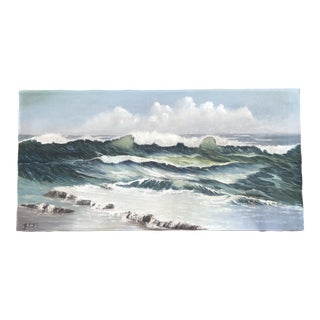 Vintage Original Seascape Ocean Painting Signed For Sale