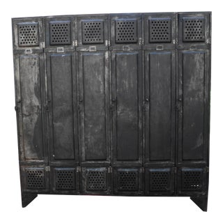 Early 20th Century French Antique Industrial Metal Locker