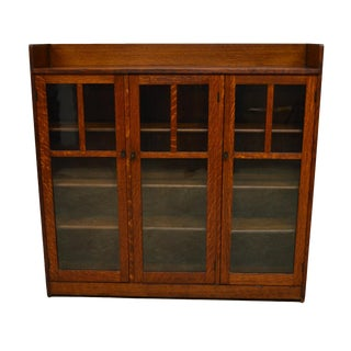 20th Century Mission Style Oak 3-Door Bookcase For Sale