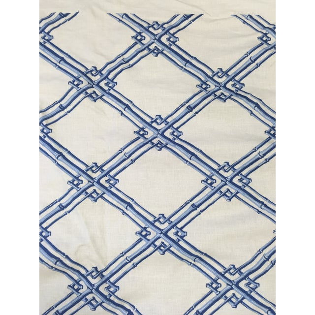 Traditional Brunschwig & Fils Bamboo Trellis Blue Fabric For Sale - Image 3 of 5