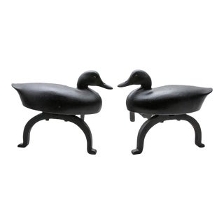 Black Cast Iron Duck Andirons - A Pair For Sale