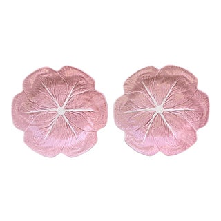 1980s Vintage Bordallo Pinheiro Pink Majolica Cabbage Dinner Plates- A Pair For Sale