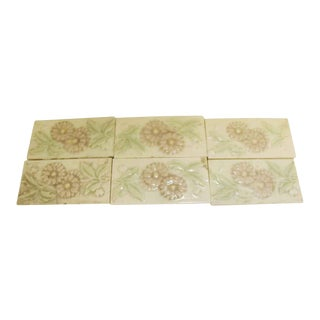Antique Pink & Cream Floral Border Tile - Set of 13 For Sale