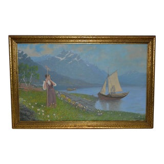 """Gulbrand Sether (1869-1941) """"The Kiss Behind the Sail"""" Original Oil Painting C.1920s For Sale"""