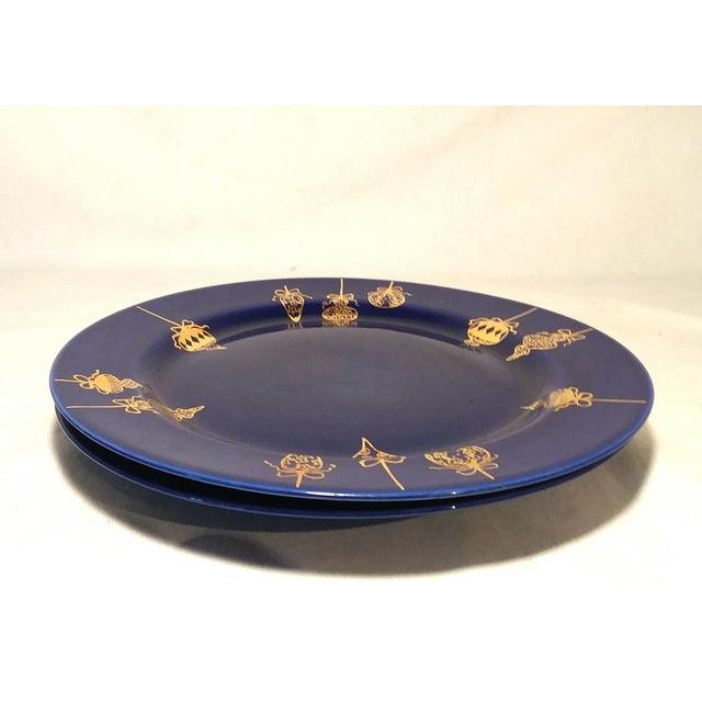 Hollywood Regency Cobalt Blue & Gold Dinner Plates - a Pair For Sale - Image 3 of 9