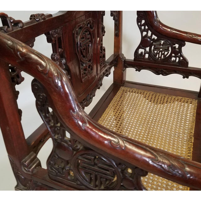 1900s C. 1900 Pair of Chinese Carved Benches For Sale - Image 5 of 10