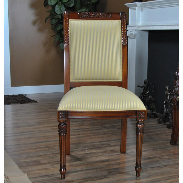 Wood Niagara Furniture Carved Empire Upholstered Side Chair For Sale - Image 7 of 13