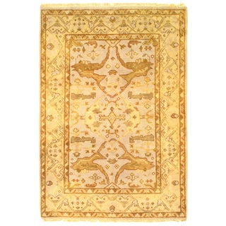 """Pasargad Ny Original Oushak Design Hand-Knotted Rug - 4'1"""" X 5'10"""" For Sale"""
