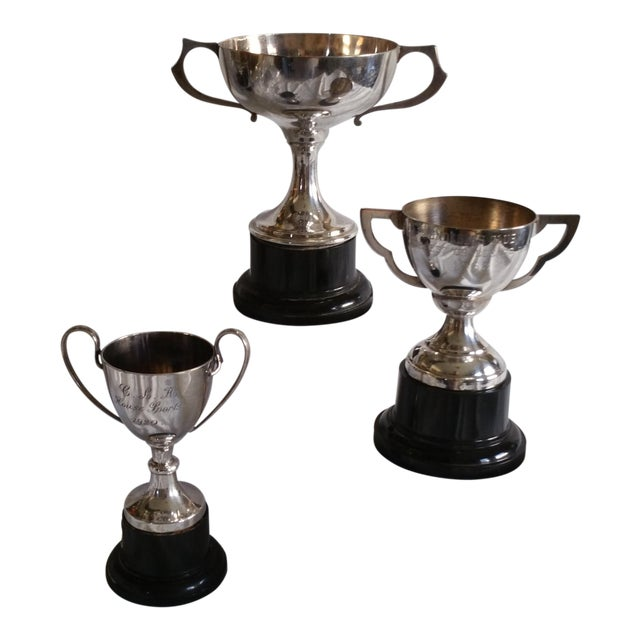 Silver Plated Sport Trophies - Set of 3 - Image 1 of 4