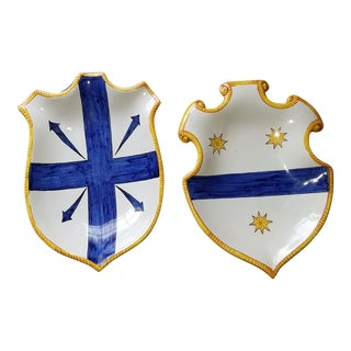 Cartouche or Shield Form Italian Faience Wall Plates - a Pair For Sale