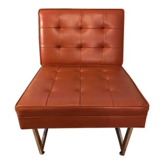 1970s Mid-Century Modern Patrician Furniture Co Burnt Orange Vinyl Lounge Chair
