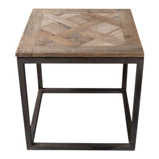 Rustic Steel & Wood Tubular Side Table