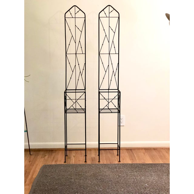 Boho Chic Late 20th Century Iron Trellis Plant Stands - a Pair For Sale - Image 3 of 12