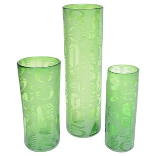 Graduated Frosted and Etched Numbered Glass Vases - Set of 3 For Sale