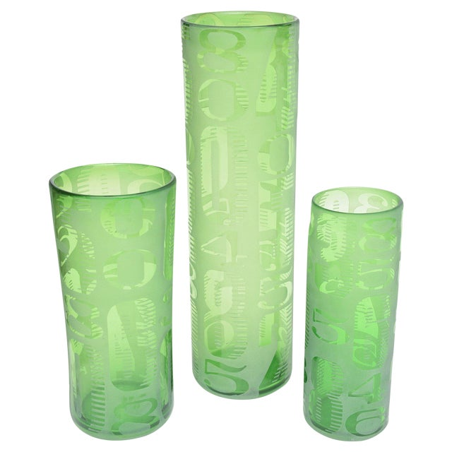 Graduated Frosted And Etched Numbered Glass Vases Set Of 3 Chairish